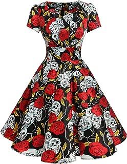 DRESSTELLS Vintage 1950s Solid Color Prom Dresses Short Sleeved Retro Audery Swing Dress