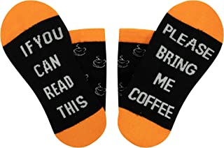 Jorbasado If You Can Read This Bring Me Some Coffee - Novelty Bamboo Crew Socks Gift For Women &Men Christmas Letters Prin...