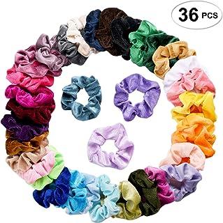SEVEN STYLE 36 Pcs Hair Scrunchies Velvet Elastic Hair Bands Scrunchy Hair Ties Ropes Scrunchie for Women or Girls Hair Accessories - 36 Assorted Colors Scrunchies (36 PCS Velvet Hair Scrunchies)