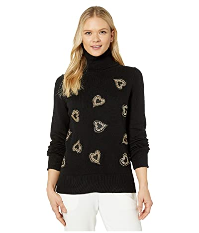 Vince Camuto Long Sleeve Heart Embellished Turtleneck Sweater (Rich Black) Women