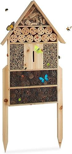 Relaxdays Hôtel à insectes sur pied nature XXL abri refuge nichoir maison abeille papillon coccinelles HxlxP: 79 x 49...