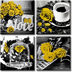 DJSYLIFE Yellow Rose Decor for Living Room Art Wall 4 Piece Flower Picture Poster Decoration Artwork Hanging Painting 12