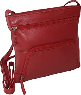 Pielino Women's Genuine Leather Multi Pockets RFID Protection Crossbody Bag (Red)