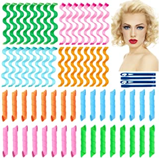 64Pcs Hair Curlers Spiral Curls No Heat Curlers Wave Formers Wave Heatless Hair Curlers Spiral Hair Curls Styling Kit 2 St...