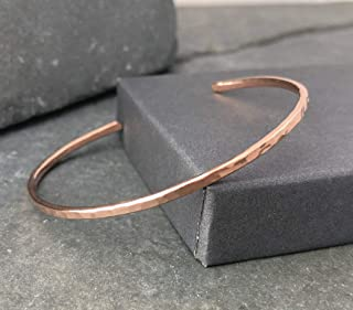 Rose Gold Filled Hammered Thin Cuff Stacking Bracelet