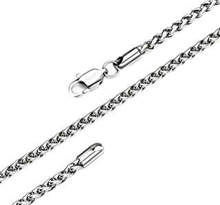 AmyRT Jewelry 3mm Titanium Stainless Steel Womens & Mens Silver Wheat Chain Necklace 16 to 30 Inches