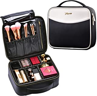 Makeup Bag Cosmetic Leather Organizer - PU Travel Train Case with Compartments and Dividers Portable Travel Make Up Storge Mini Size for Girl and Women