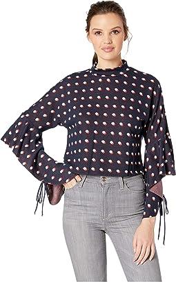 Cropped Frill Sleeve Sweatshirt