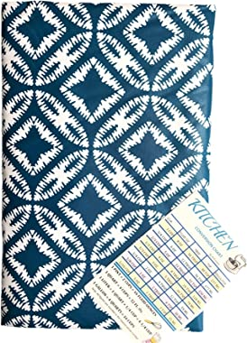 Summer Fun Geometric Design Vinyl Tablecloth Flannel Back with Zipper and Umbrella Hole Teal Blue and White with Custom Magne