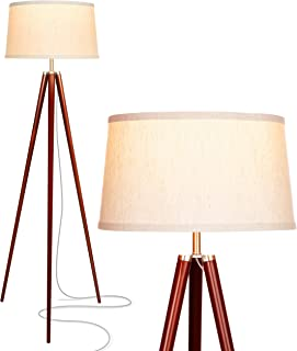 Brightech Emma LED Tripod Floor Lamp – Mid Century Modern Standing Light for Contemporary Living Rooms - Tall Survey Lamp with Wood Legs for Bedroom, Office - Walnut Brown
