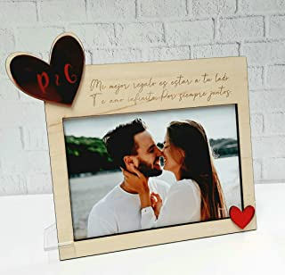 Marco de madera con mensaje grabado personalizado y corazón rojo espejo, regalo novios San Valentín