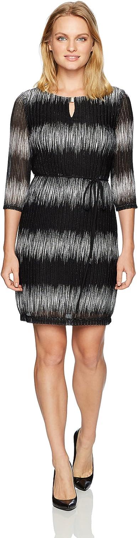 Sandra Darren Womens 1 Pc 3 4 Sleeve Ombre Mesh Knit Key Hole Belted Sheath Dress Casual Dress