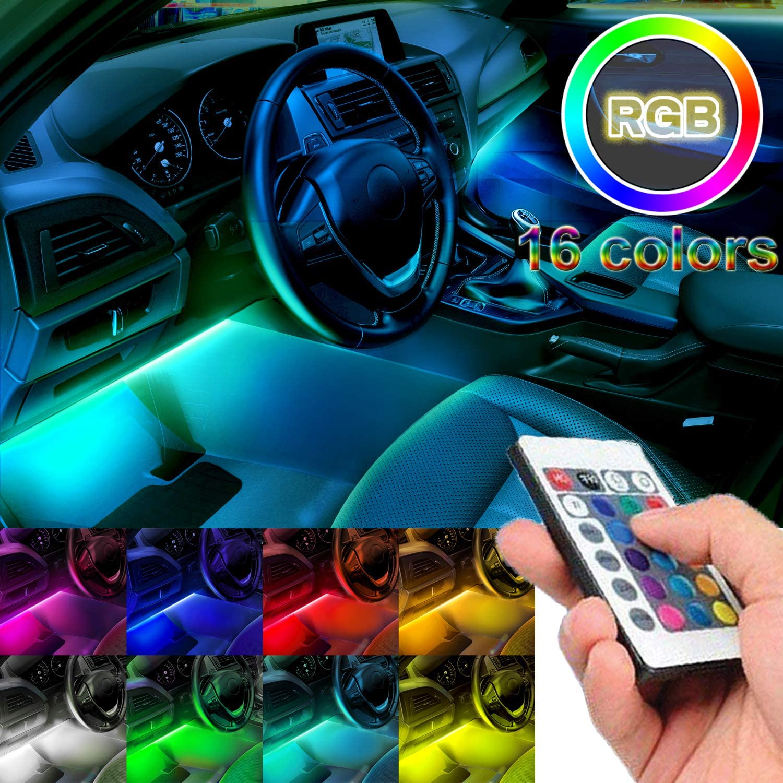 4 Car Atmosphere Lamp RGB LED Strip Light Interior Decoration Music Rhythm Light
