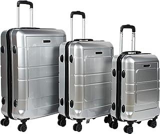 Giordano Luggage - 203 Hard Case Trolley 3 Pcs Set With 4 Wheel, Silver, Unisex