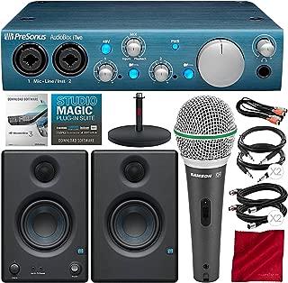 PreSonus AudioBox iTwo 2x2 USB Recording System with PreSonus Eris E3.5 Multimedia Reference Monitors, Samson Microphone, and Deluxe Bundle
