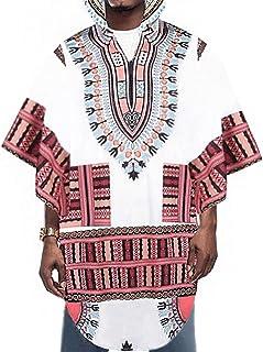 قميص Daupanzees رجالي مطبوع على الطراز الإفريقي من Dashiki قميص بغطاء رأس وعباءة