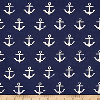 Cotton + Steel S.S. Bluebird Canvas Anchor Fabric, Navy