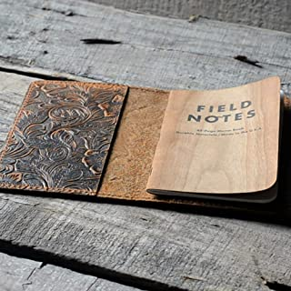 Distressed Leather Checkbook Journal Cover for Field Notes Moleskine Cahier Note book Pocket size 3.5 x 5.5 Vintage Refillable Notepad Flower Brown
