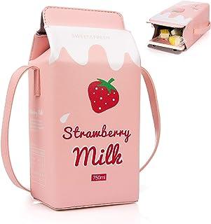 XiYee Kleine Crossbody Tasche, Mädchen PU Leder Geldbörse, Milch Box Brieftasche Tasche kleine Crossbody Persönlichkeit Mi...