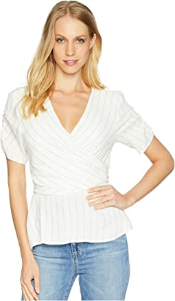 Ticking Stripe Wrap Top w/ Tie Back