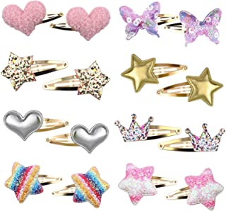 8 Pairs/16 Pack Hair Clips for Girls, Wetelco Star/Crown/Heart/Butterfly Shaped Hair Pins, Cute Hair Clips Metal Snap Barr...