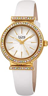 Burgi Swarovski Colored Crystal Studded Bezel - Genuine Patent Leather Strap, Fine Guilloche Pattern Dial Designer Women's Watch Perfect Gift for Mother's Day– BUR243