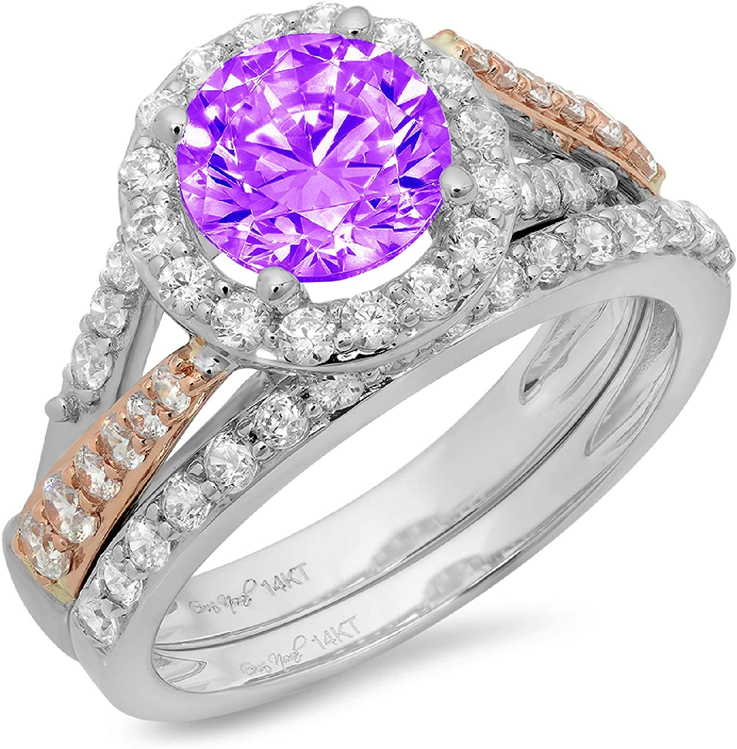 1.87ct Round Cut Pave Halo Split Shank Solitaire with Accent Natural Purple Amethyst Designer Statement Classic Ring Band Set Real 14k 2 tone Gold