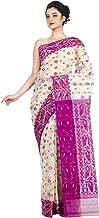 RLB Fashion Women's Cotton Silk Dhakai Jamdani Saree (Cream & Dark Pink)