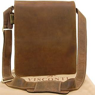 a2416fe409 Visconti Grand sac Besace en cuir marron signé (18410) - Tanne