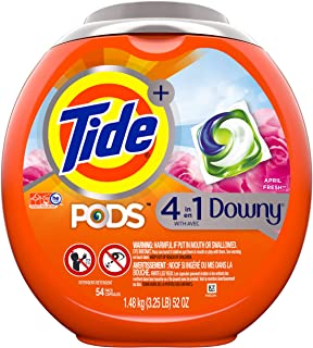 Tide PODS 4 in 1, Plus Downy, Laundry Detergent Liquid Pacs, April Fresh, 54 Count - Packaging May Vary