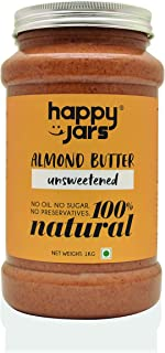Happy Jars 1kg Unsweetened Almond Butter, 5g Protein, 100% Pure Almonds