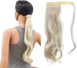SWACC Women Long Straight/Curly Wavy Wrap Around Ponytail Extension Synthetic Hair Piece Clip in Hair extensions (Curly Wavy, Platinum Blonde-60#)