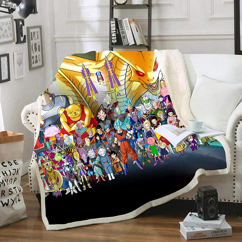 10,100 x 140 cm Manta infantil de Dragon Ball con estampado de anime DAMEILI suave franela para cama sof/á y viaje