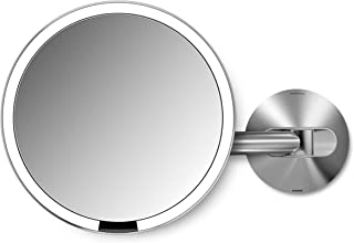 """simplehuman 8"""" Round Wall Mount Sensor Makeup Mirror, 5x Magnification, Rechargeable and Cordless, Brushed Stainless Steel"""