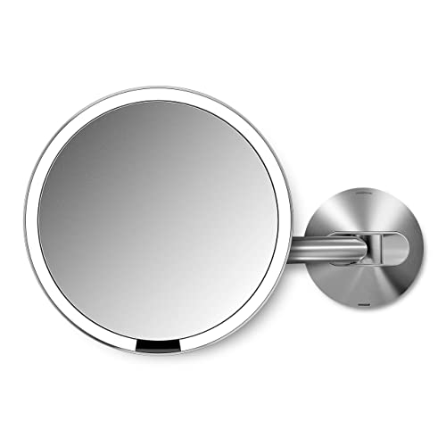 simplehuman 8  Round Wall Mount Sensor Makeup Mirror, 5x Magnification, Rechargeable and Cordless, Brushed Stainless Steel