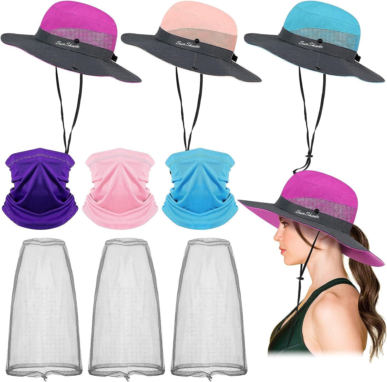 9 Pieces Women Wide Brim Ponytail Hats Sun Hat Head Mesh Net Hats Neck Gaiters for Summer Outdoor Protection
