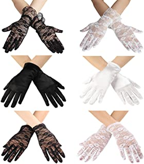 LeJulyeekay Flower Girl Gloves Lace Bead Short White Princess Gloves for Wedding