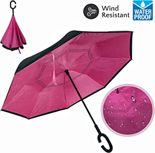 Double Layer Inverted Umbrellas, Reverse Umbrella, Large Umbrella for Rain, UV Protection, Big Straight Umbrella, Reverse Folding, C-Shaped Handle, Car and Outdoor Use, Large Upside Down Umbrella