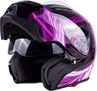Typhoon Women's Modular Full Face Motorcycle Helmet - Street Bike Flip-Up Dual Visor DOT (Pink XXL)