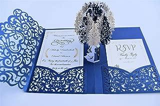 Pop up Wedding Invitation Pocket-folds With Envelope. Unique and Elegant Laser Cut 3D Design by Tada Cards