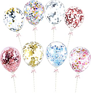 24 Pieces 8 Colors Confetti Balloon Cake Toppers Mini Balloon Cake Cupcake Topper 5 Inch Sequins Balloon Birthday Dessert ...