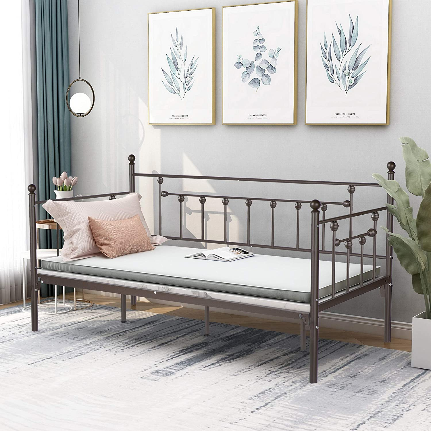 Metal Daybed Frame Twin Bed Sofa Slats with Headboard SEAL limited product Elegant Steel Plat