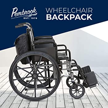 Pembrook Wheelchair Backpack Bag - Wheel Chair and Walker Accessories Side Storage Bags - Lightweight Pack for Mobili...