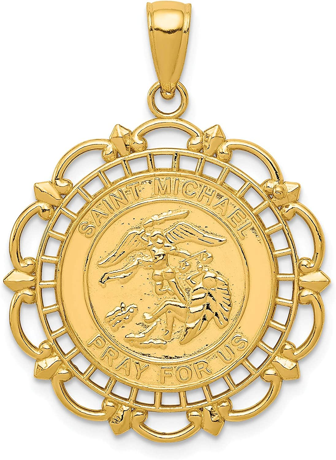14K Gold Polished Satin Max 88% OFF Saint Medal Yello 2021 autumn and winter new 14k Michael Pendant
