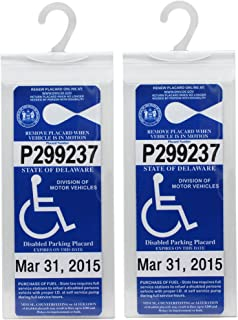 LotFancy Handicap Parking Permit Holder Cover - Disabled Parking Placard Protector Hanger Sleeve with Large Hook- Pack of 2 Plastic Mirror Tag Hang