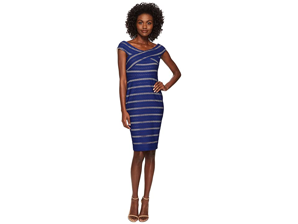 CeCe Jessa Off the Shoulder Knit Stripe Dress (Indigo Bay) Women