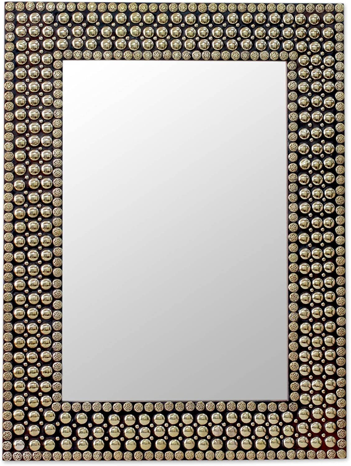 NOVICA Wood Frame Wall Mounted Mirror New popularity Brass with Rectangular Stu Max 62% OFF