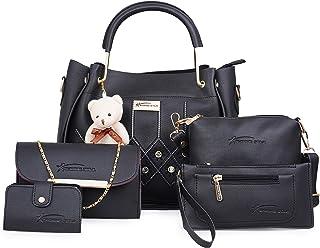 Shining Star Women's Handbag, Sling Bag, Clutch & Card Holder(Set of 5, Black)