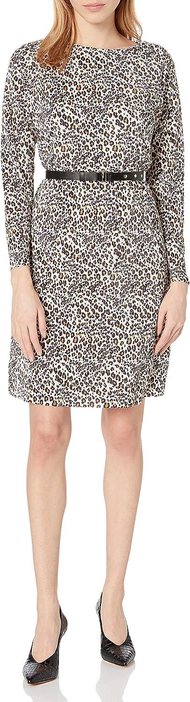 Sam Edelman Women's Long Sleeve Belted Plissé Shift Dress