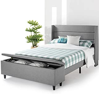 Mellow Modern Upholstered Platform Beds with with Headboard and Bedside Storage Ottoman (No (No Box Spring Needed), Queen, Gray